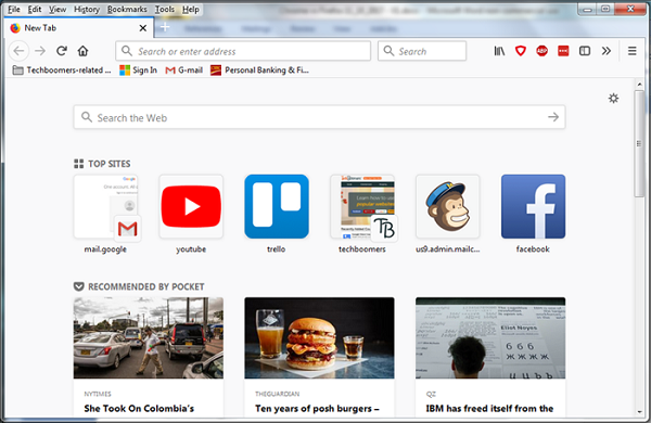 Firefox Internet browser interface