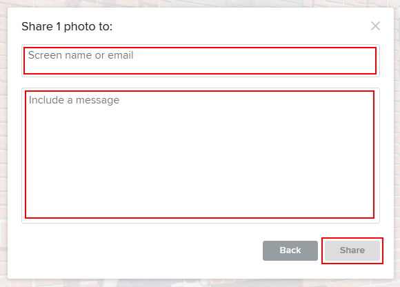 Sharing Flickr photos through email or internal messages