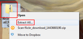 Extract downloaded Flickr photos from a ZIP file