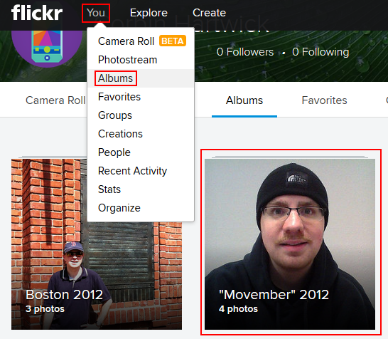 Selecting a Flickr album