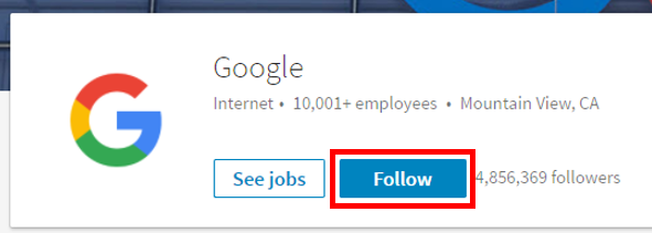 Follow a company on LinkedIn