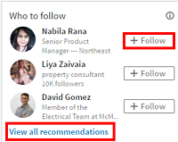Homepage follower recommendations