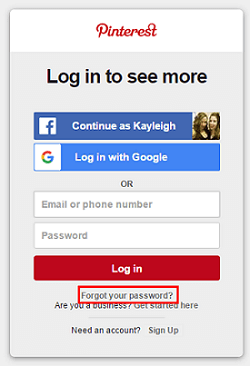 Indicate you have forgotten your Pinterest password