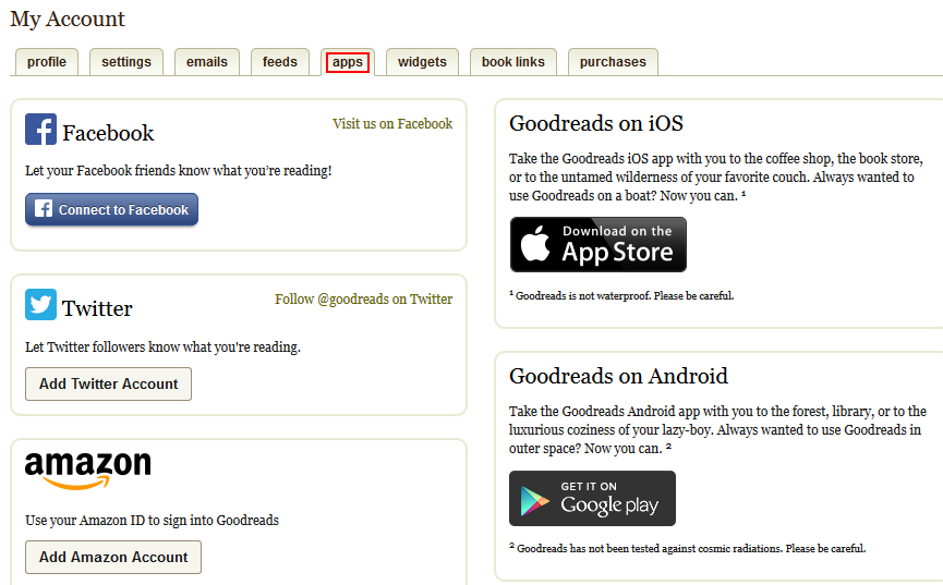 Goodreads Settings - Free