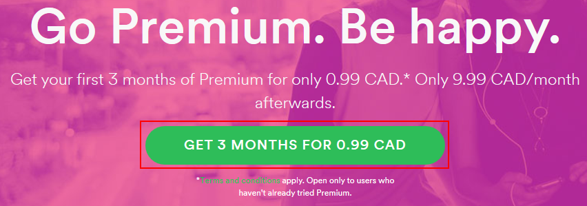 Getting a reduced-cost trial of Spotify Premium