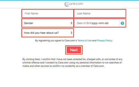 Care.com sign up form for personal information