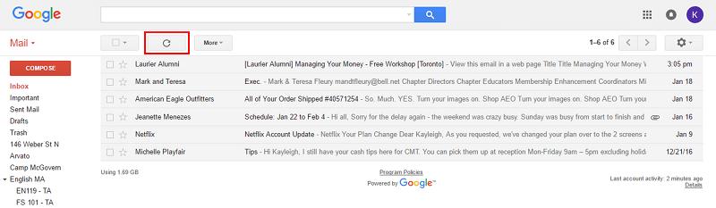 Gmail refresh button
