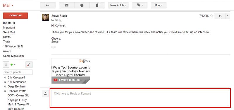 Gmail Reply box