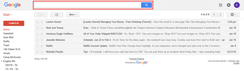 Gmail search bar