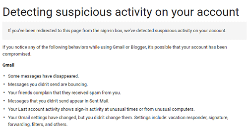 Gmail security email