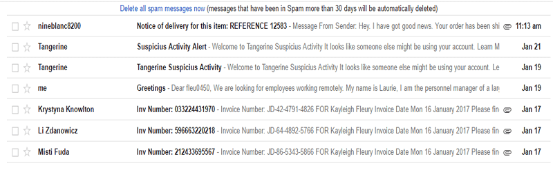 Gmail Report Spam button