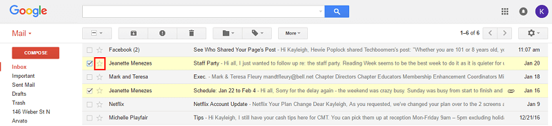 Gmail star to favorite a conversation