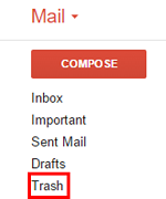 Gmail Trash folder button