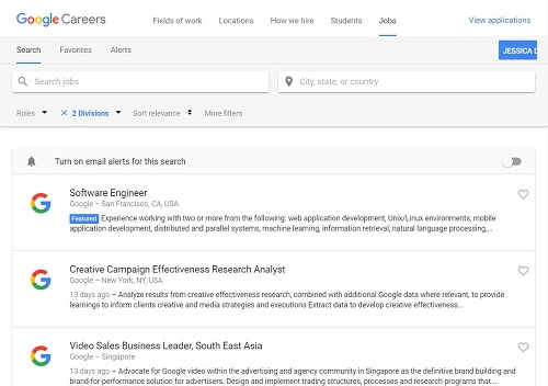 Google Careers page