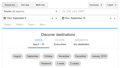 Google flight planner