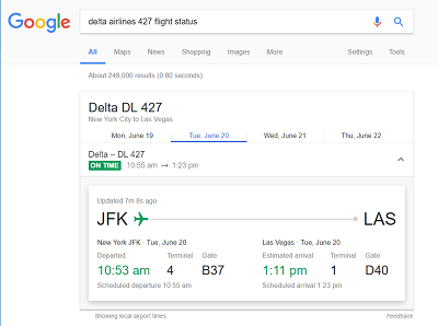 Google Flights status search