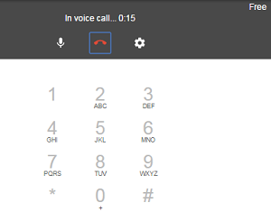 Google Hangouts phone call screen