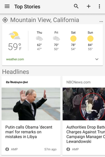 Google News and Weather