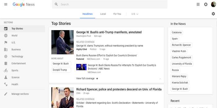 Google News website search
