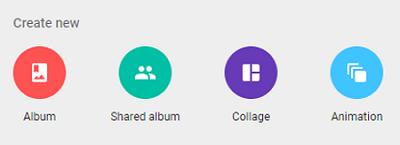 Google Photos new album creation page