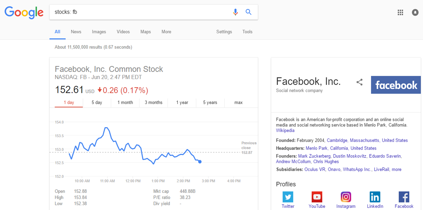 Search for stock information