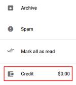 Google Voice call credit button