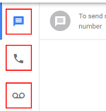 Calls, Voicemail, Messages buttons