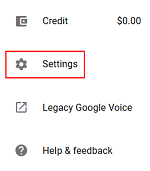 Google Voice Settings menu