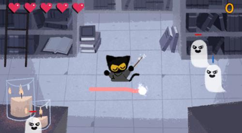 Halloween 2016 Google Doodle - cat magician game