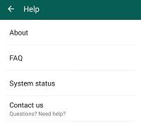 WhatsApp help settings