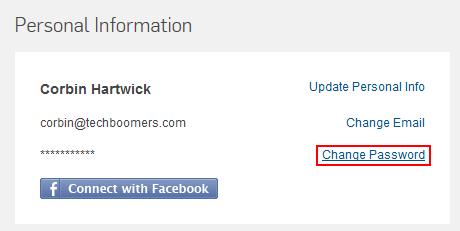 Hulu change password access button