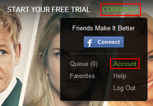 Hulu account settings access button