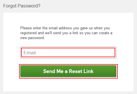 Form for Hulu sending you an email to reset your password