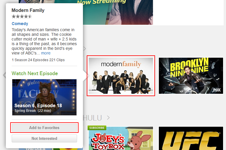Hulu add a show to favorites