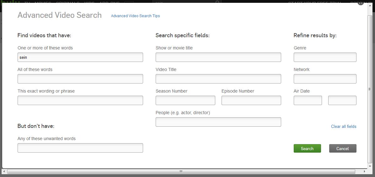 Hulu advanced search options popup