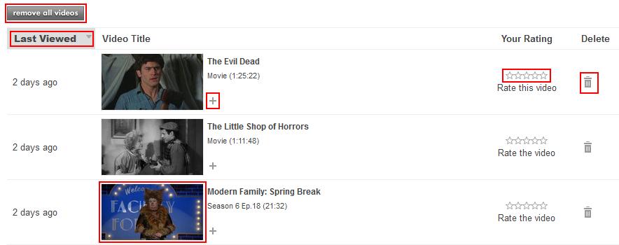 Hulu history menu and its options