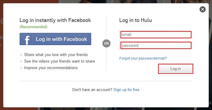 Hulu log in popup window