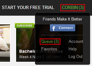 Hulu access queue menu button