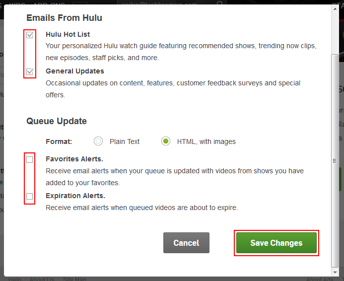 Hulu email notification account settings