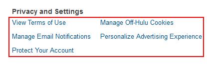 Hulu privacy settings
