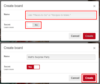 Create Pinterest board form