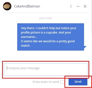 Compose and send a message to an OkCupid user