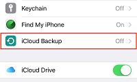 iCloud Backup button