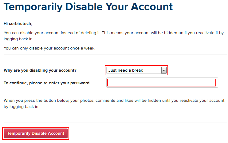 How to delete your instagram account please re enter your password and type in the password that you use for your account finally click temporarily disable account ccuart Gallery