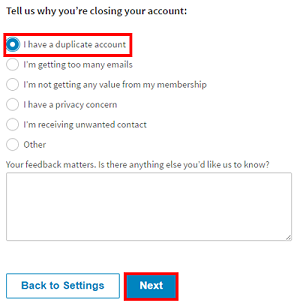 Choose a reason for closing your account