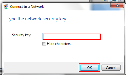 How to input the security key for a wireless network