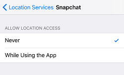 Disable location services for Snapchat