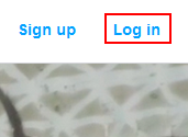 The Kickstarter log in button