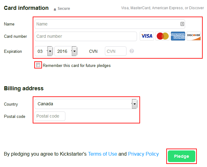 Entering your billing details for Kickstarter
