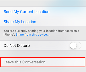 Select to leave a group conversation